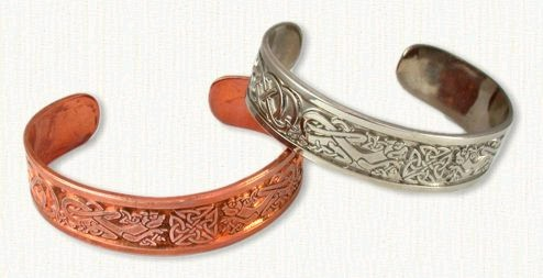 Celtic cuff bracelets in copper and sterling silver