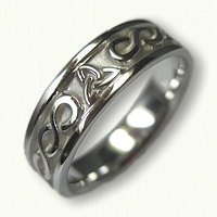 14kt White Gold Celtic Two Strand Knot with Triangle Knot