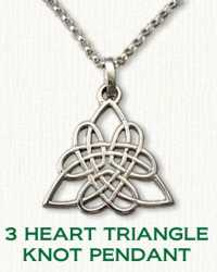 3 Heart Triangle Knot Pendant