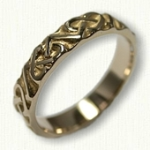 14kt Yellow Gold Celtic 3 Point Heart Knot Wedding Band - Sculpted