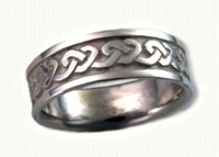 14kt white gold 3 Point Celtic Knot Band