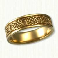 14KY Celtic Four Heart Weave Knot Wedding Band