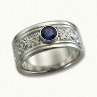 14kt White Gold Celtic Four Point Knot Band with a Bezel Set Sapphire