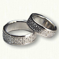 Custom Platinum 4 Point Knot Wedding Band Set
