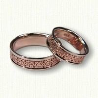 Custom Two Tone 4 Point Knot Wedding Band Set
