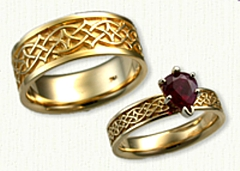 14kt Celtic Crynoch Knot Engagement Ring set with a 1.05ct Pear Shaped Ruby with matching Wedding Band