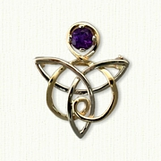 Celtic Angel Pin with Amethyst