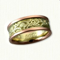 14kt Green Gold Center Triangle Knot with  Thistle Band with 14kt Rose Gold Rails