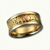 14kt Two Tone Murphy Knot Band w/14kt Rose Gold Raised Heart