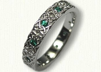 14kt White Gold Aberlour Knot Inner Band - no rails -with chatham emeralds set between knotwork