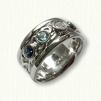 14kt white gold Custom Adare Knot Band w/Bezel Set Stones - diamond, blue topaz and sapphires