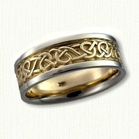 Adare Knot Wedding Band 14kt Yellow Center with 14kt White Rails