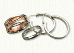 14kt Adare Knot Wedding Band Set with Matching Adare Knot Hoop Earrings