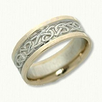 14kt Two Tone Celtic Adare Knot Wedding Band