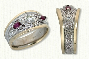 14kt Two Tone Custom Tapered Adare Knot Band with bezel set center diamond and side marquise rubies