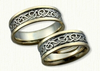 Adare Knot Wedding Band. 14kt white center with 14kt yellow rails