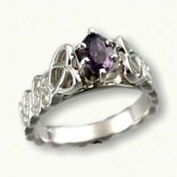 Amanda Engagement Ring with a .59ct Genuine Oval Purple Sapphire