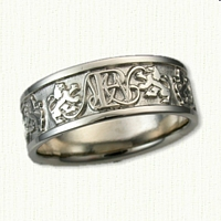 14kt White Gold Custom Band Alternating Monogram & Rampant Lions