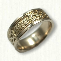 14kt Yellow Gold Custom Celtic Wolf Wedding Band