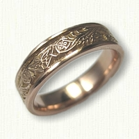 14kt Rose Gold Celtic Dragon and Butterfly Wedding Band