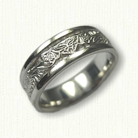 14kt White Gold Celtic Dragon and Butterfly Wedding Band