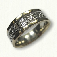 14kt Two Tone Gold Celtic Triangle & Serpent Wedding Band