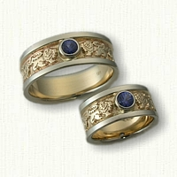 14kt Yellow and White Gold Rampant Lion Wedding Bands with Bezel Set Blue Sapphires