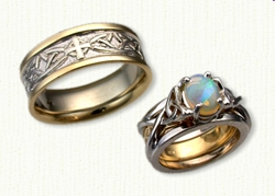Custom Celtic Arches Band with Single Celtic Cross Wedding Band with Vanessa Reverse Cradle set with a .65ct Oval Opal