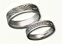 Platinum Glandore Band and Custom Celtic Arches/Wave Band