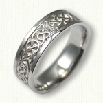 14kt White Gold Celtic Ballyclare Wedding Band - 7.0 mm width