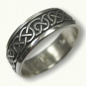 Sterling Silver Celtic Ballyclare Wedding Band - antiqued