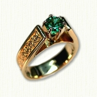 14kt yellow gold 'Bridget' engagement ring set with a round emerald. Ring shank has a triangle knot pattern.