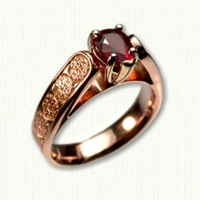 14kt rose gold Bridget Engagement Ring with Brentford Knot and pear shaped ruby