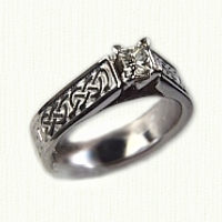 14kt white gold Bridget Engagement ring with Murphy Knot pattern and princess cut diamond