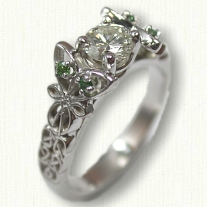 Butterfly Love Knot Engagement Ring to be set with the RBC 0.49ct Diamond and (4) Small 1.7mm Green Accent Diamonds