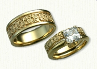 14kt Yellow Gold Custom Butterfly Knot Wedding Band Set