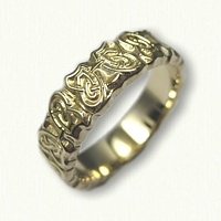 14kt Yellow Gold Celtic Butterfly Knot Wedding Band - sculpted edges