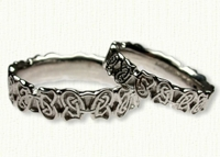 14kt white gold Sculpted Celtic Butterfly Knot Wedding Bands
