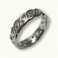 14kt White Gold Celtic Carlow Knot Wedding Band- no rails