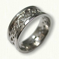 Carlow knot wedding band - pierced with rails