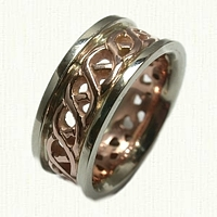 Pierced Celtic Carlow Knot Wedding Band - 14kt Rose Gold Center with 14kt White Gold Rails