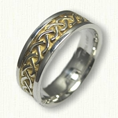 Sterling Silver Celtic Carlow Knot Wedding Band with 18kt Electroplating in Recessed Areas