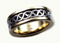 Carlow Knot Wedding Band with Sleeve - 14kt white gold center with 14kt yellow gold rails