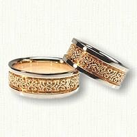 Custom 18kt Yellow and Platinum Celtic Carrick Knot Wedding Band Set