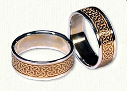 14kt Two Tone gold Celtic Castlebar Knot Wedding Band Set