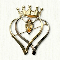 Custom Crown Kilt Pin - Sterling Silver & 14kt Yellow Gold set with a 12 x 5 mm Marquise Imperial Golden Topaz