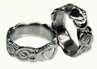 14KW Sculpted Celtic Knot with Claddagh Band