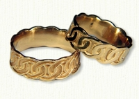 14Kt Yellow Sculpted Celtic Link Knot Bands