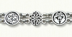 Antiqued Sterling Silver Celtic Animals & Love Kot  Bracelet