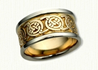 Celtic Circle Knot Wedding Band with 14KW rails & 14KY center
